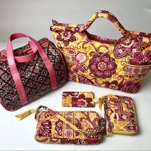 Vera Bradley Yellow Pink Floral Satchel Bundle Set